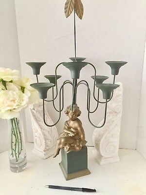 French-Style  Candleabra w Cherub at Base, 8 Candle Arms,  (Heavy Wgt. 5 lbs )