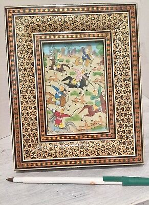 Persian Art Painting Horses/Spears w Khatam-Style Marquetry Inlaid Frame