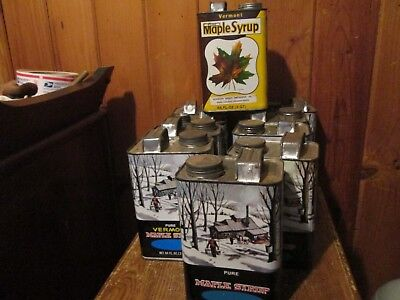 Lot of 8 Vintage VERMONT MAPLE SYRUP TIN CANS Litho 1/2 Gallon BEAUTIES!