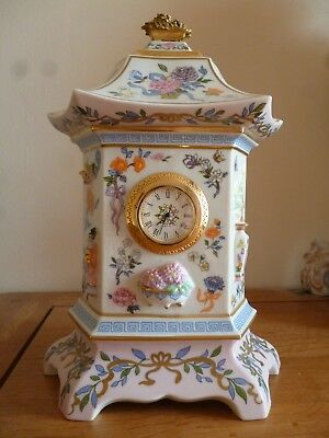 clock of 100 flowers pretty ceramic mantel clock