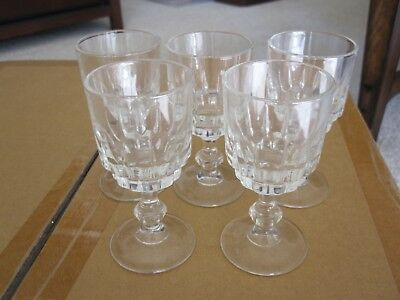 Set of 5 Clear Crystal Aperitif Cordial Sherry Port Glasses - Antique Vintage