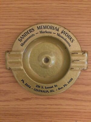 Sanders Memorial Works Funeral Home Advertising Ashtray from Centralia, Illinois