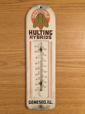 Hulting Hybrids Seed Corn Metal Thermometer from Geneseo (Illinois) Works