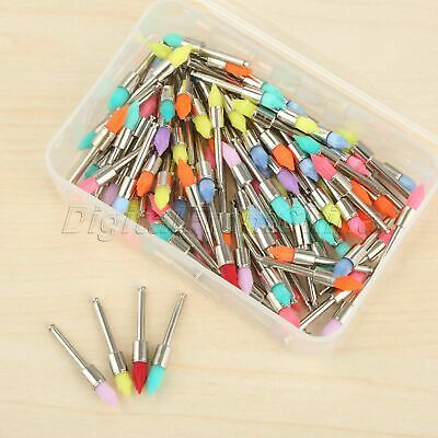 100Pcs Mixed Color Dental Prophy Brush Polishing Polisher Nylon Latch Taperd