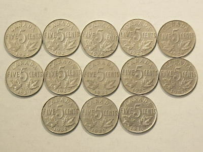 1922 to 1936 Canada 5 Cents Lot of 13 Coins Missing 1925 & 1926 #1383