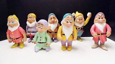 Vintage Disney Rubber Seven Dwarfs Figurines Complete Set Movable Arms Thailand