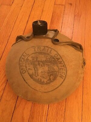 Vintage Boy Scouts Official Trail Canteen Green Snap Cover Camping