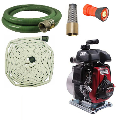 Koshin Firefighting Pump Kit with 100' Attack Fire Hose and Foot Valve w/ Nozzle