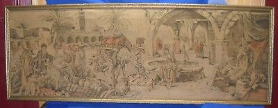 """Antique Tapestry 19th Century of an Arab Market 57"""" x 20.5"""""""