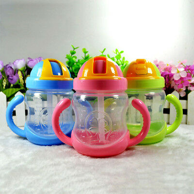 Water Straw Handle Bottle Training Cup School Drinking Bottle Baby Kids Cup