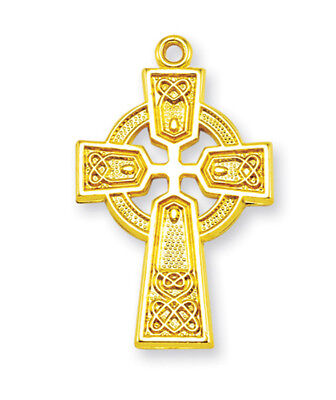"""NEW Gold Plated Over .925 Sterling Silver Celtic Irish Cross Pendant w/18"""" Chain"""