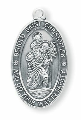 .925 Sterling Silver Oval Saint St. Christopher Medal Pendant On 24'' Chain