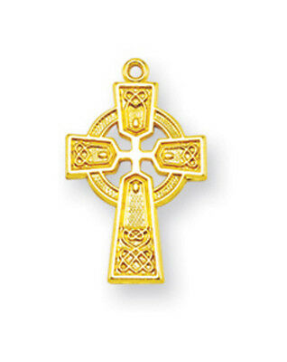 """Gold Plated Over Sterling Silver Celtic Irish Gaelic Cross Necklace w/18"""" Chain"""