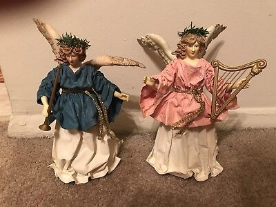 Vintage Angel Christmas Tree Topper - Paper Mache, Fabriche, Cartapesta Lot of 2