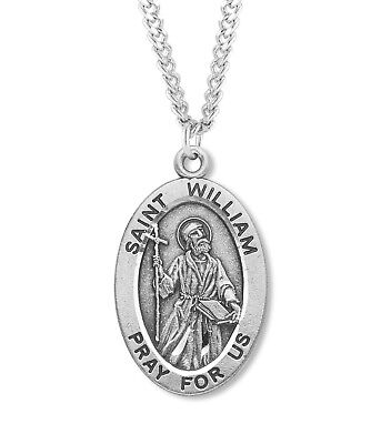 d647dd94eda .925 Sterling Silver Saint St. William Medal Catholic Pendant Chain Necklace  .