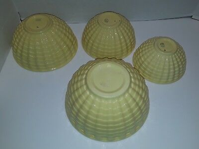 4 Antique Gladding McBean Yellow Pottery Nesting Mixing Bowls #6 ,#7 ,#8 ,#9