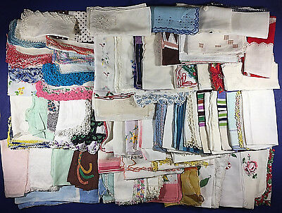 Lot of 93 Vintage Cutter/Craft Ready Handkerchiefs Hankies