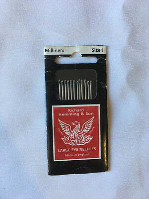 Richard Hemming & Sons Milliners needles, size 1, new unopened