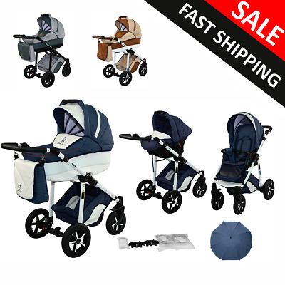 Baby pram 3in1 travel system Newborn Carrycot Pushchair Buggy Stroller car seat