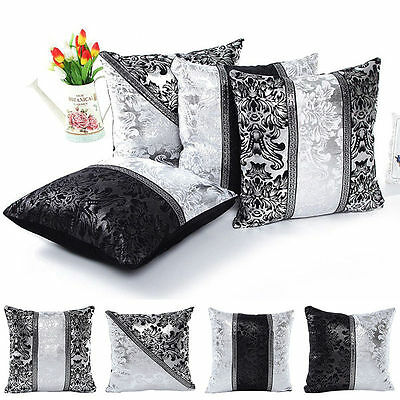 Vintage 45 x 45cm Black White Floral Sofa Throw Pillow Case Square Cushion Cover