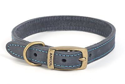 Ancol Timberwolf bridle leather dog collar/lead.Blue,Brown,Grey,Tan.XS,S,M,L💕