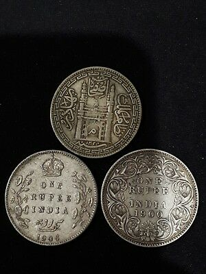 India 3 different silver rupees