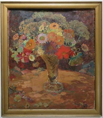 EDITH JAGGER (1881-1977) Impressionist STILL LIFE OF FLOWERS Fine Oil Painting