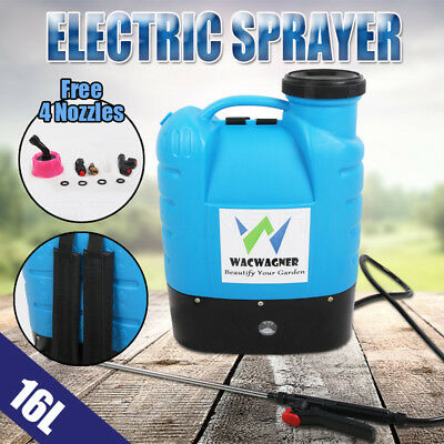 16L Electric Weed Backpack Sprayer Rechargeable Chemical Pressure Garden Farm