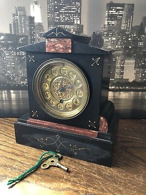 Vintage French Stone And Red Marble Mantel Clock
