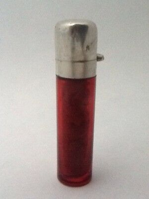 Antique Cranberry Glass & Silver Capped Scent Bottle