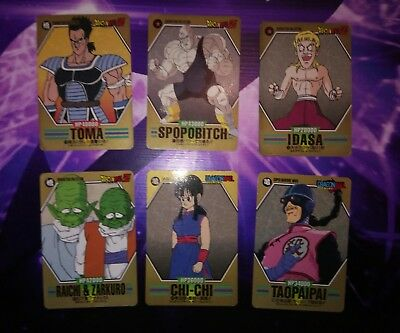 Lot 6 cartes DRAGON BALL Z DBZ Super Barcode Wars Characters Collection Cards