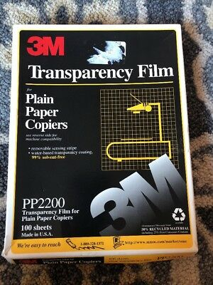 "3M Transparency Film For Copiers 54 Sheets 8.5"" x 11"" PP2200 Open Box"
