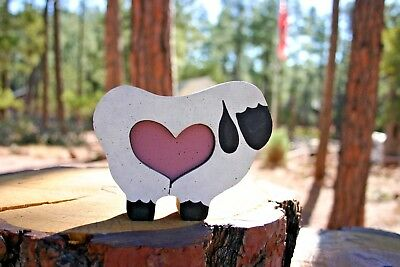 Sheep or Lamb Figurine, Wood, with removable Heart