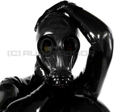 Gasmaske  Fuer Latexmaske Fetish Latex Heavy Rubber Catsuit Kleid Haube Mantel