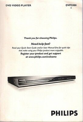 manuel / mode d'emploi Dvd Video Player PHILIPS DVP5980