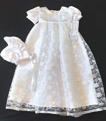 Beautiful Eva Rose christening gown floral lace skirt satin bodice + bonnet 3-6m