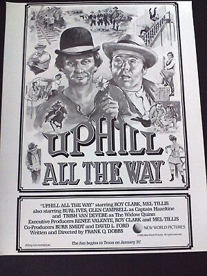 MEL TILLIS- Uphill All The Way  1985  Original Promo Poster Ad