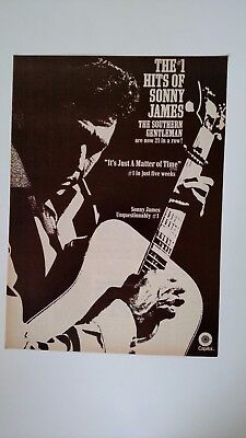 SONNY JAMES- #1 Hits Of Sonny James 1970 Original Promo Poster Ad