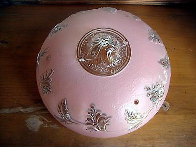 """Vintage Pink Frosted Art Deco Floral Glass Ceiling Lamp Shade - 3 Hole - 10-1/4"""""""