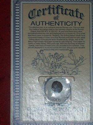 Roman Bronze Coin 300A.d To 350 A.d Certificate Of Authenticity