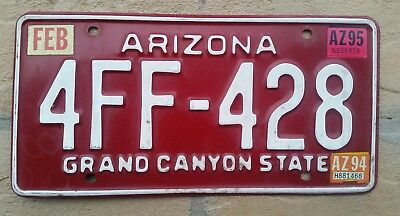 1994 ARIZONA Grand Canyon State License Plate TAG # 4FF-428