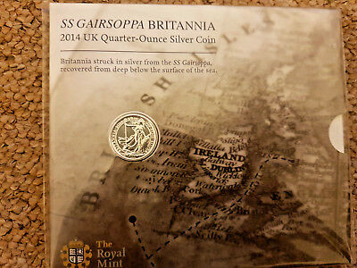 2014 SS GAIRSOPPA BRITANNIA 1/4 OUNCE .999 SILVER - unopened sealed pack