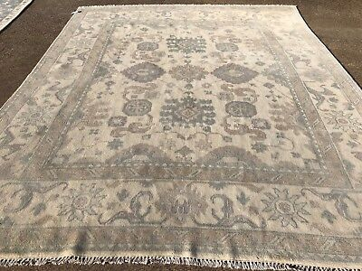 8x10 Muted Hand Knotted Wool Rug New Oushak Ushak Area Rugs Persian