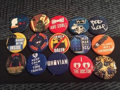 Doctor Who Buttons / Pins Pinbacks Lot of 15: Tardis, Whovian, Daleks, Bad Wolf