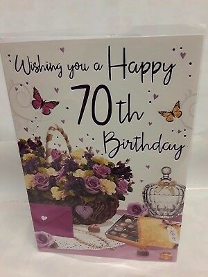 Large FEMALE 70TH BIRTHDAY CARD Floral Colour Insert Regal Verse FREEPOST