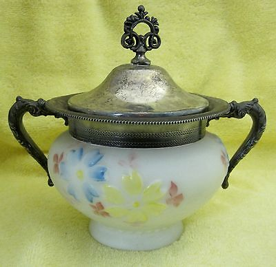 "Victorian "" Cosmos "" Style Milk Glass Sweet Meats Dish with Silver Plate Handle"