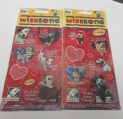 Vintage Mello Smello Wishbone Dog Valentines Day Stickers Lot of 2