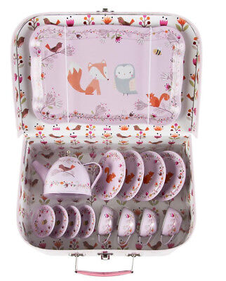 Woodland Friends Childrens Kids Picnic Case Tea Set Pink Metal Party Gift