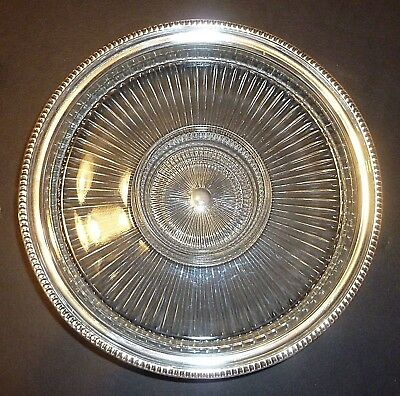Vintage Frank M Whiting Sterling Silver and Glass Cheese & Cracker Serving Dish