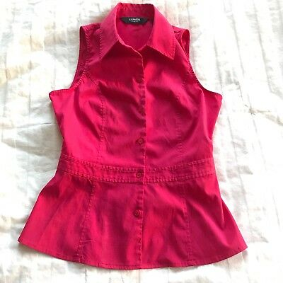 dfe707691 Express Womens Red/Coral Sleeveless Holiday Button Up Blouse Size 1/2 Fitted